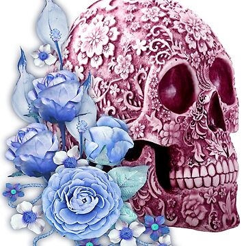 Unique Cool Pink Floral Blue Flowers Skull by Atteestude