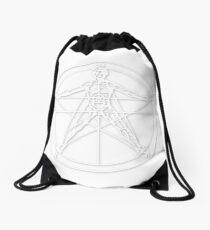Pentagram, white with dropshadow Drawstring Bag