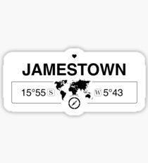Jamestown Saint Helena GPS Coordinates Map Artwork with Compass  Sticker