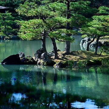 Tranquil scenery of pine trees reflecting in the water of a pond at Rokuon-ji Japanese Zen temple garden art photo print by AwenArtPrints