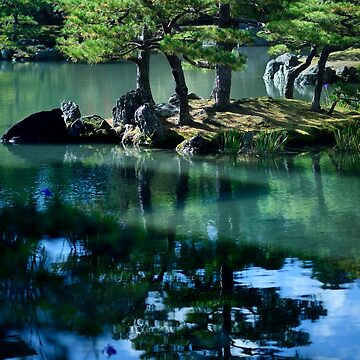 Peaceful scenery of pine trees on an island in a pond of a Japanese Zen garden art photo print by AwenArtPrints