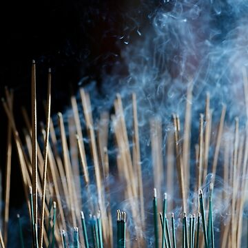 Smoke from incense joss sticks in a Japanese temple lit by sunlight art photo print by AwenArtPrints