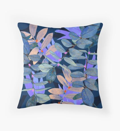 Midnight Leaf Blue Throw Pillow