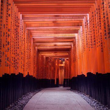 Long passage Senbon Torii leading to the outer shrine of Fushimi Inari Taisha art photo print by AwenArtPrints