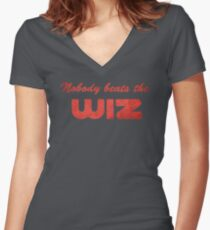 Nobody Beats The Wiz Women's Fitted V-Neck T-Shirt
