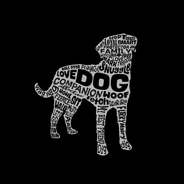 DOG WORD CLOUD SILHOUETTE (white) by jitterfly
