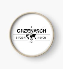 Greenwich England GPS Coordinates Map Artwork with Compass   Clock