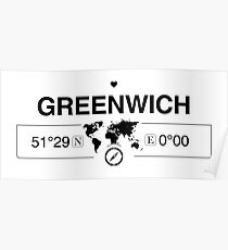 Greenwich England GPS Coordinates Map Artwork with Compass   Poster