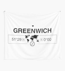 Greenwich England GPS Coordinates Map Artwork with Compass   Wall Tapestry