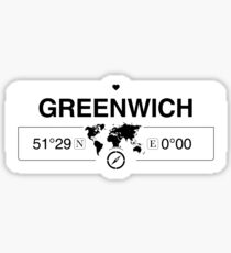 Greenwich England GPS Coordinates Map Artwork with Compass   Sticker