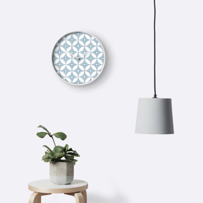 Modern Chinoiserie pattern,  grey & white circle textures, by MagentaRose