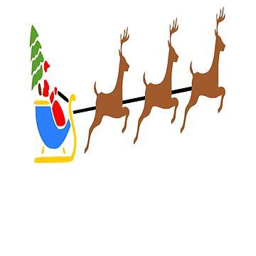 Santa Claus  A Reindeer Flying, Christmas Tee Shirt Gift  by AbdelaaliKamoun