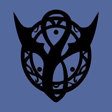 Dragon Symbol Black on Blue by joshcartoonguy