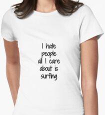 Camiseta entallada para mujer I Hate People Surfing Funny Gift Idea