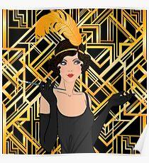 Art deco,gold,black,flapper girl,The Great Gatsby,1920 era,vintage,elegant,chic,modern,trendy Poster