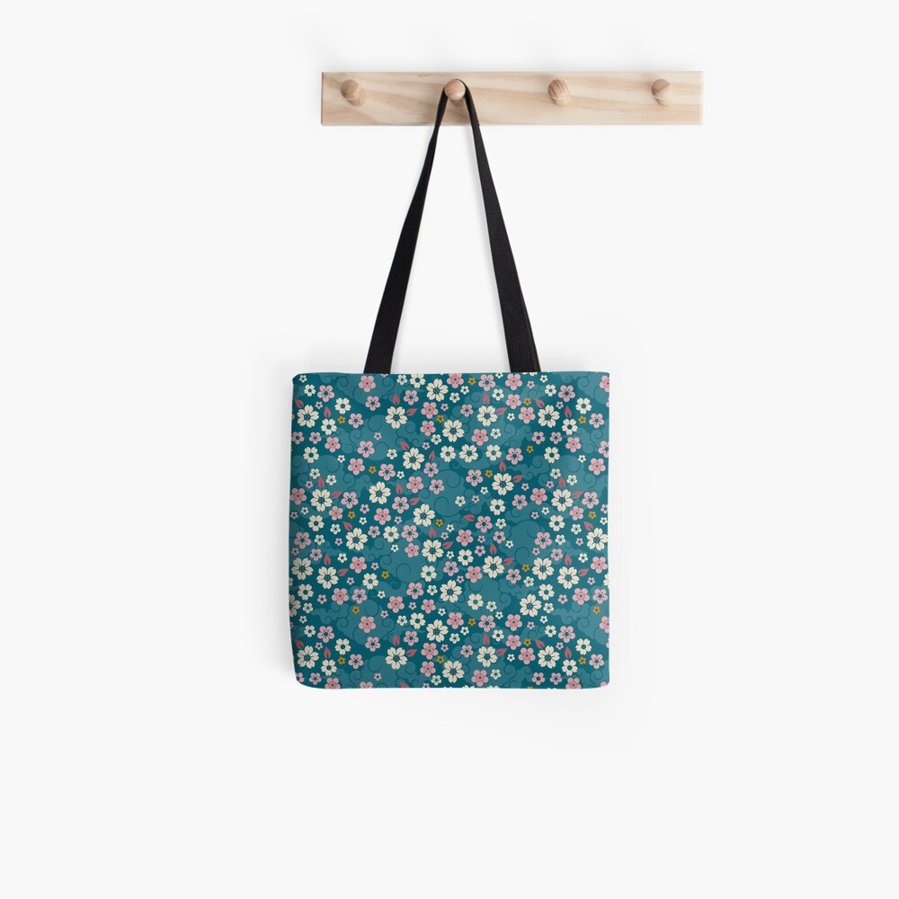 Pink + White Blossoms on Blue Tote Bag