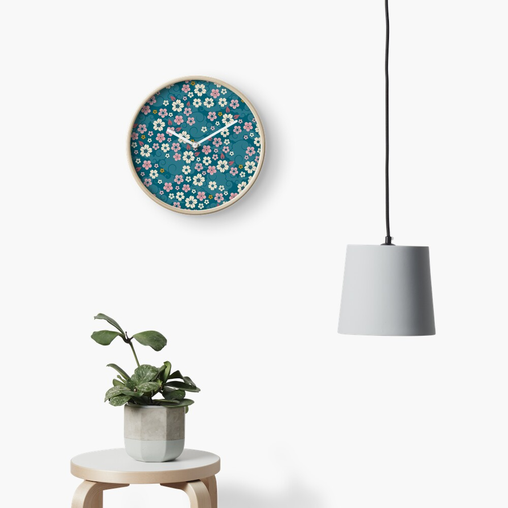Pink + White Blossoms on Blue Clock