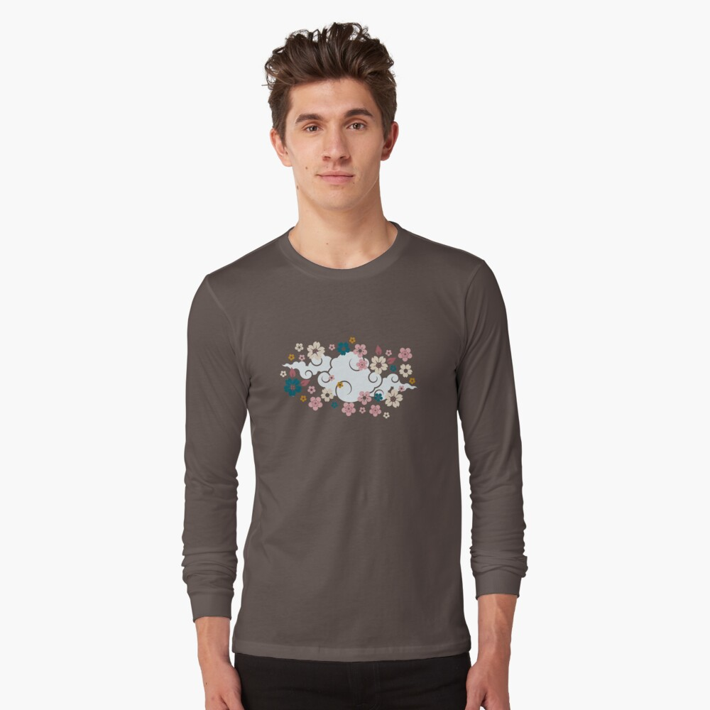 Pink + White Blossoms on Blue Long Sleeve T-Shirt