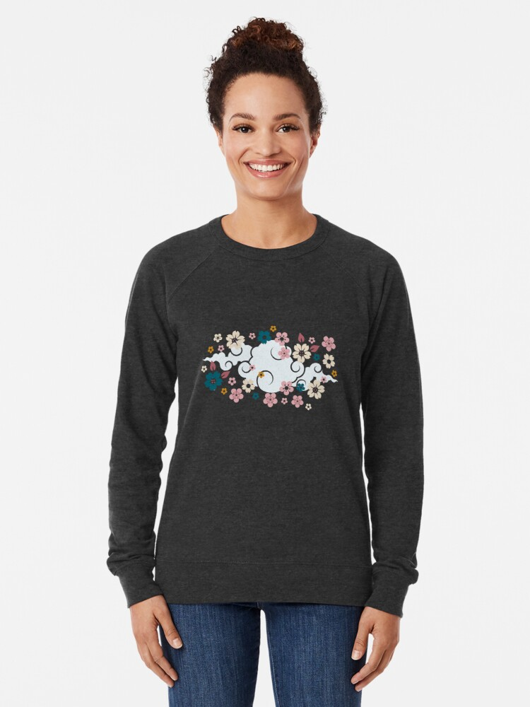 Alternate view of Pink + White Blossoms on Blue Lightweight Sweatshirt
