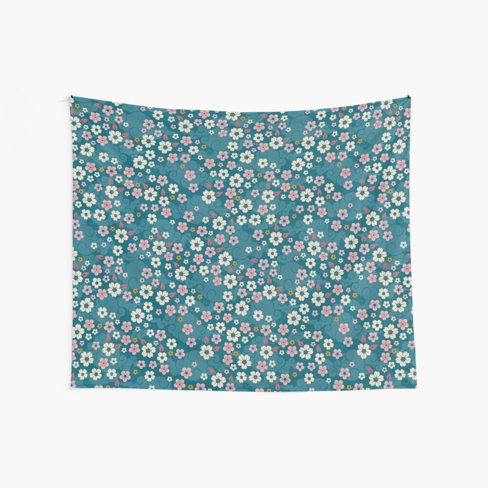 Pink + White Blossoms on Blue Wall Tapestry