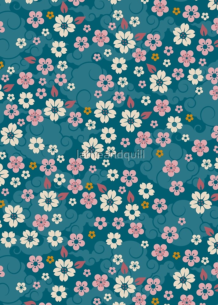 Pink + White Blossoms on Blue by latheandquill