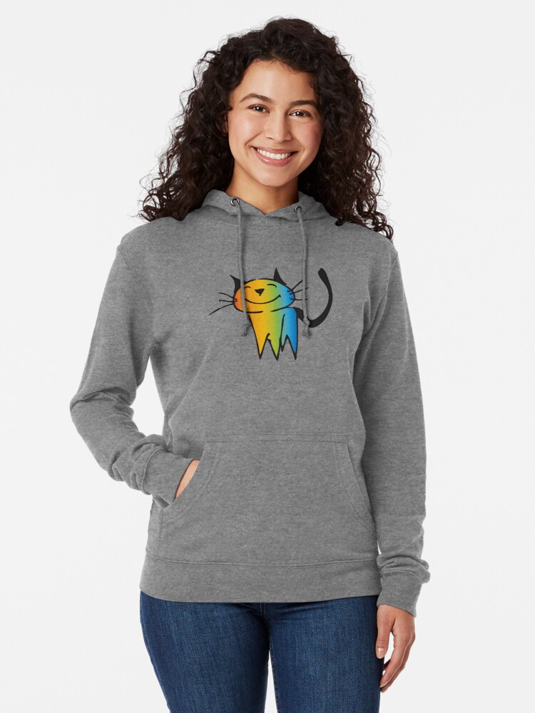 Alternate view of Rainbow color cat Lightweight Hoodie