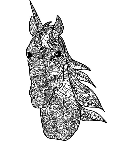 Coloring Book Style Unicorn Doodle Art 2018 Illustration\