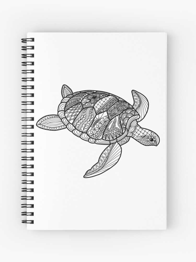 Coloring Book Style Sea Turtle Ocean Life Doodle Art 2018 Illustration |  Spiral Notebook