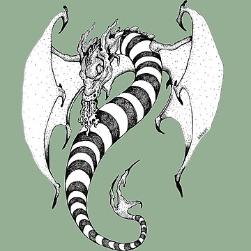 Candy Striped Dragon in Ink by kikoeart