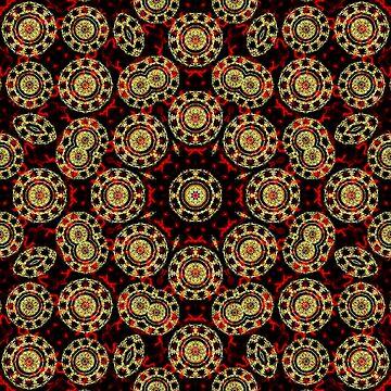 Gold on Red and Black Circular Mandala by MarkUK97