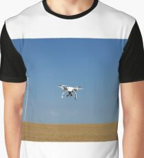 drone flying over wheat field with wind turbine Graphic T-Shirt