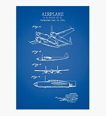 AIRPLANE patent BLUE Photographic Print