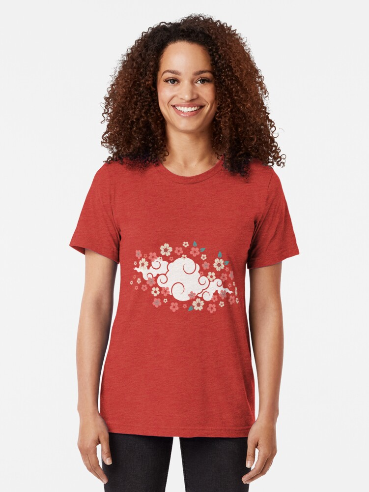Alternate view of Cherry Blossoms in Peach Tri-blend T-Shirt