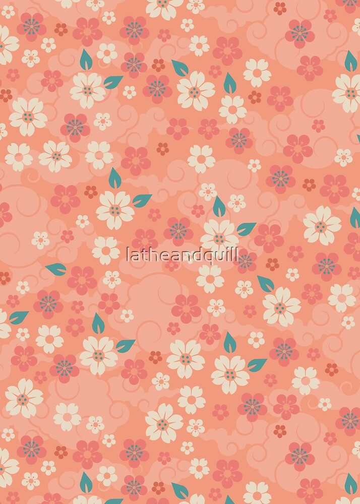 Cherry Blossoms in Peach by latheandquill