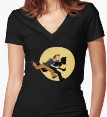 Tintin Style! Women's Fitted V-Neck T-Shirt
