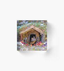festive christmas mouse in a log cabin house Acrylic Block