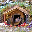 festive christmas mouse in a log cabin house by Simon-dell