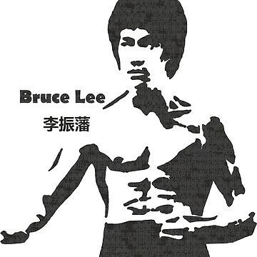 Bruce Lee black and white text by Desenatorul1976