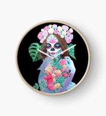 Sugar Skull Girl with Flowers - La Catrina   Clock