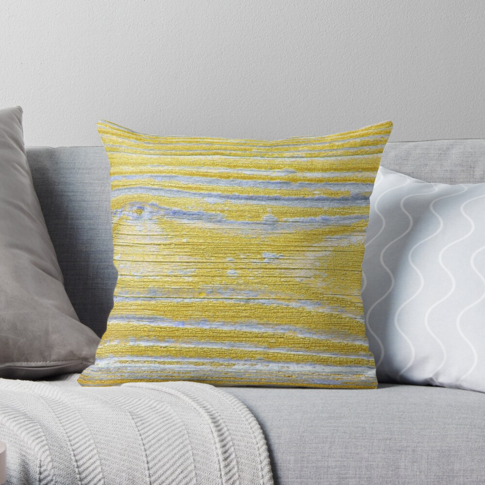 Shabby weathered wood in yellow Throw Pillow