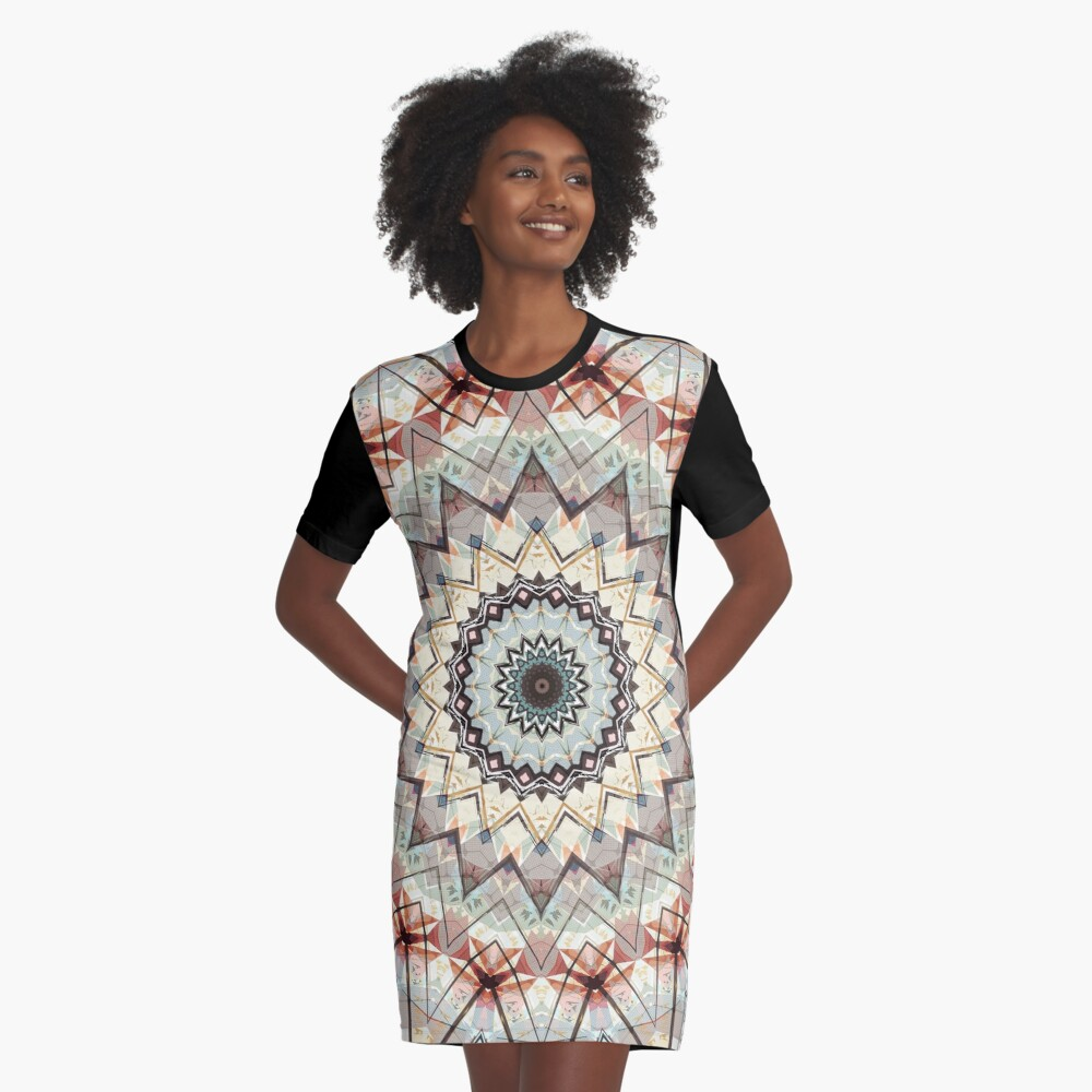 Autumn Colors Abstract Graphic T-Shirt Dress