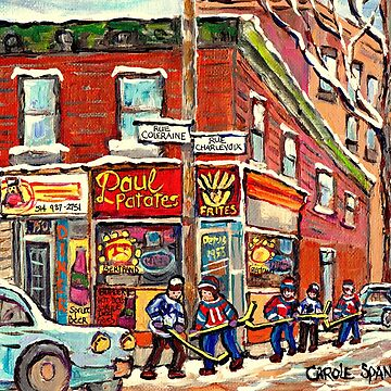 PSC STREET HOCKEY PAINTINGS CANADIAN WINTER SCENE RUE COLERAINEAND CHARLEVOIX POINTE ST CHARLES RESTAURANT by CaroleSpandau