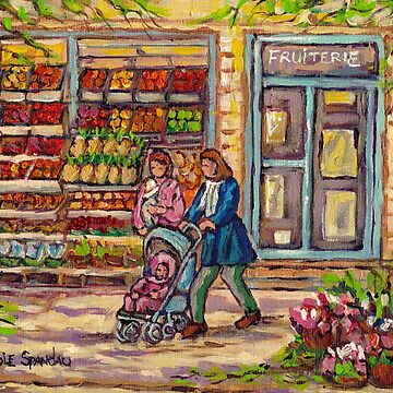 MOMS AND TOTS CITYSCENES OUTDOOR FRUIT MARKET CANADIAN ART MONTREAL FRUITERIE PAINTING C SPANDAU by CaroleSpandau