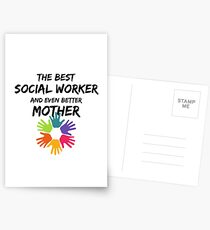 Socialworker Mom Best Social Worker Mother Funny Gift Postkarten
