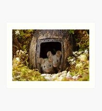 two wild mouse at the  wood pile door  Art Print