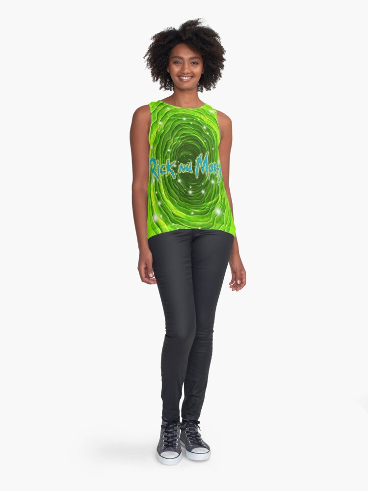Alternate view of Rick and Morty Infinity Portal Sleeveless Top