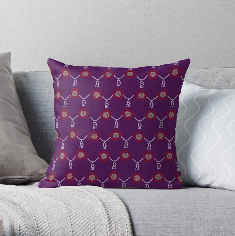 Anne Boleyn B necklace in purple Throw Pillow