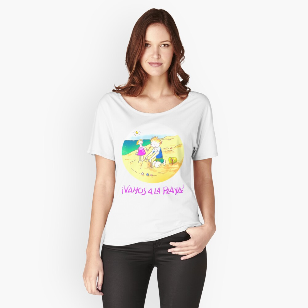 ¡Vamos a la playa, niños!  -  Let´s Go to the Beach, Kids!  - Auf zum Strand, Kinder! Camiseta ancha para mujer Front