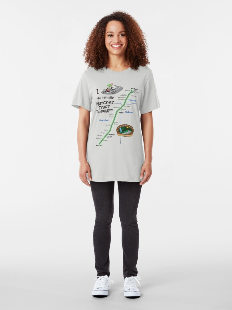 Alternate view of I Bicycled the Natchez Trace Parkway. Slim Fit T-Shirt