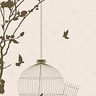 Vintage style card with bird silhouettes and birdcage by Richard Laschon